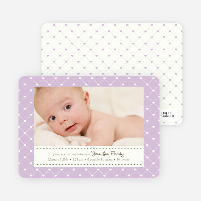 Birth Announcements: Quilted Love - Lavender