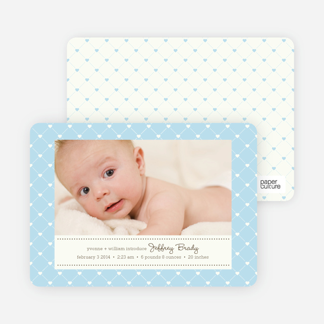 Quilted Love Birth Announcements - Baby Blue