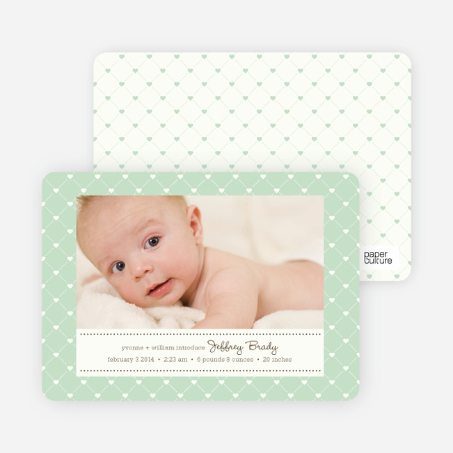 Quilted Love Birth Announcements - Mint