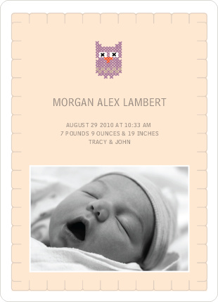 Quilted Owl Photo Baby Announcement - Beige