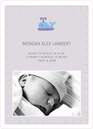 Quilted Whale Photo Birth Announcement - Pale Purple