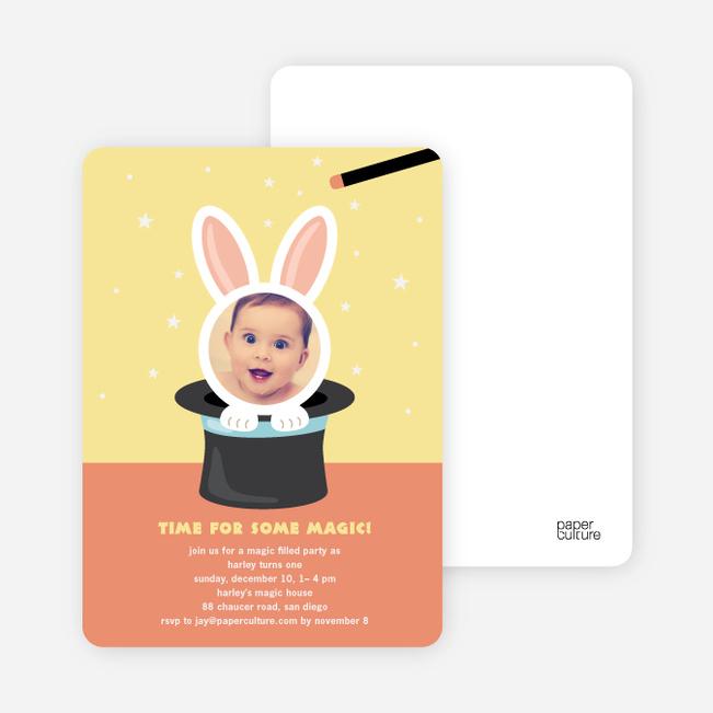 Rabbit in a Hat Birthday Invites - Squash