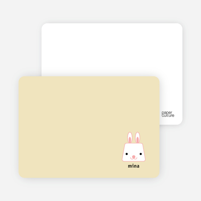 Rabbit Stripe Stationery and Note Cards - Golden Cream