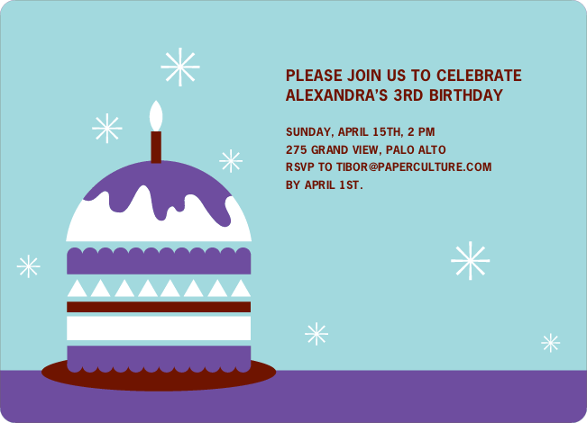 Modern Birthday Cake Invitation - Violet