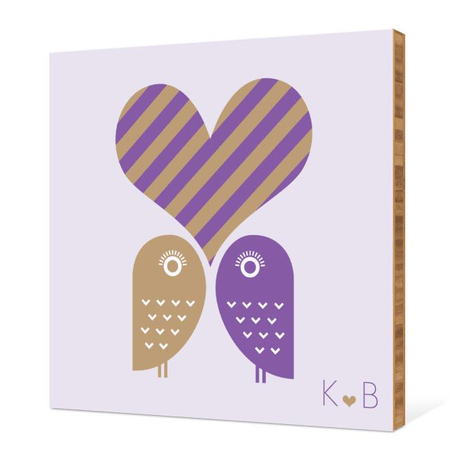 Owls in Love Bamboo Wall Art - Grape
