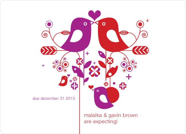 Lovebirds Pregnancy Announcements - Lavender Powder
