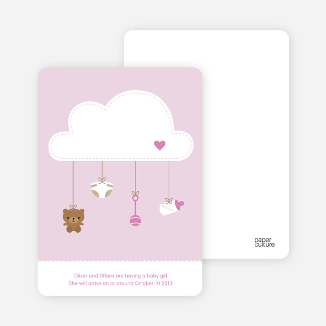 Raining Baby Stuff Pregnancy Announcements - Pink Sky