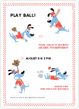 Babe Woof: Baseball Invitations - Red Shirt