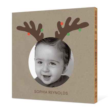 Reindeer Antlers Holiday Photo Wall Décor - Light Olive