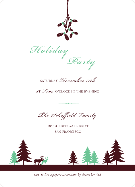 Mistletoe Holiday Party Invitations - Wintergreen