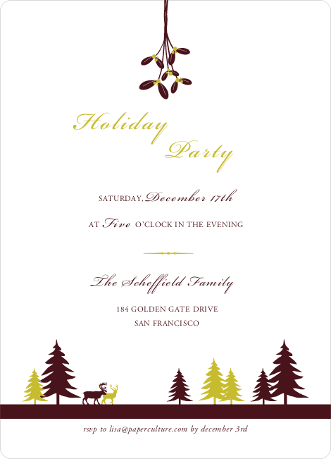 Mistletoe Holiday Party Invitations - Mustard