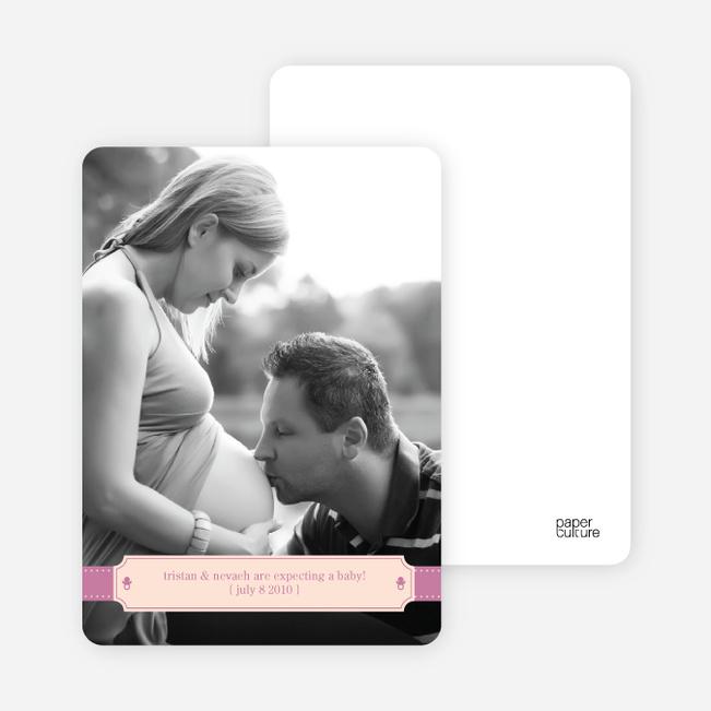 Ribbon Frame Pregnancy Announcements - Lavender Pink