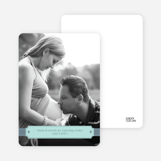Ribbon Frame Pregnancy Announcements - Blue Jewel