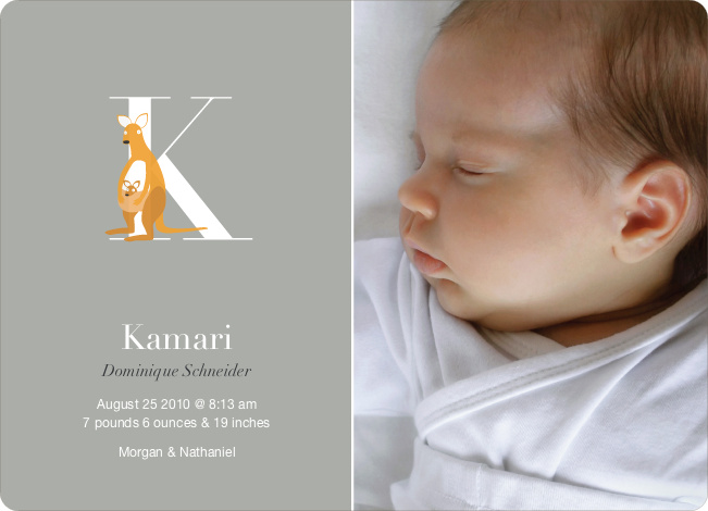Animal Monogram Series Letter K: Kangaroo - Warm Gray