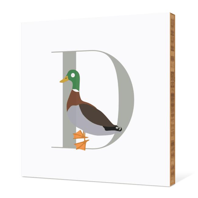 D Duck Monogram Bamboo Art - Warm Gray