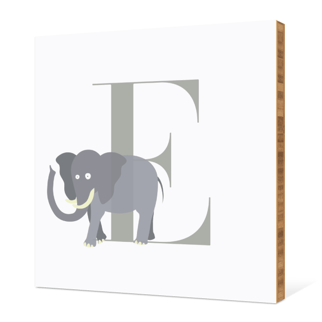 E Elephant Monogram Bamboo Art - Warm Gray