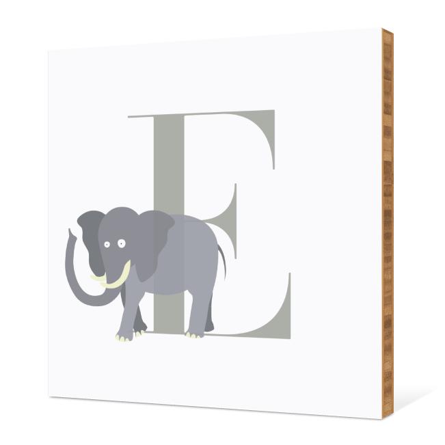 E Elephant Monogram Bamboo Art - Warm Gray