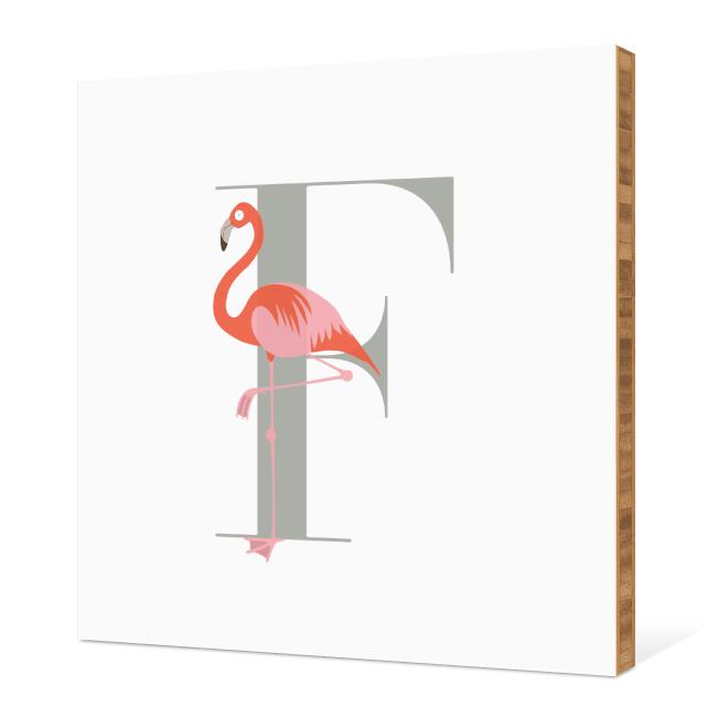 F Flamingo Monogram Bamboo Art - Warm Gray