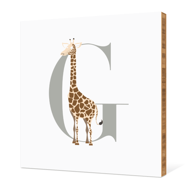 G Giraffe Monogram Bamboo Art - Warm Gray