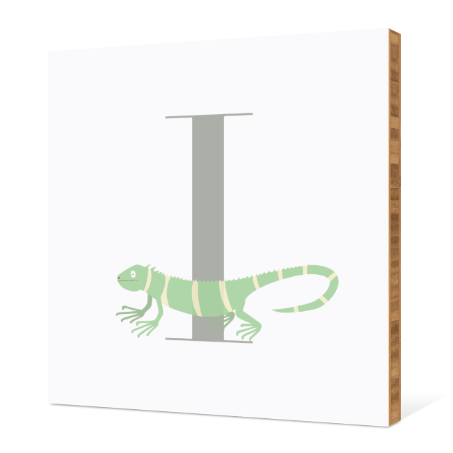 I Iguana Monogram Bamboo Art - Warm Gray