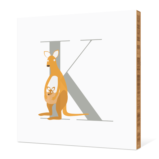 K Kangaroo Monogram Bamboo Art - Warm Gray