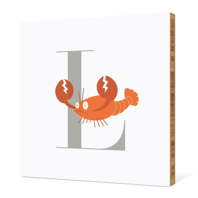 L Lobster Monogram Bamboo Art - Warm Gray