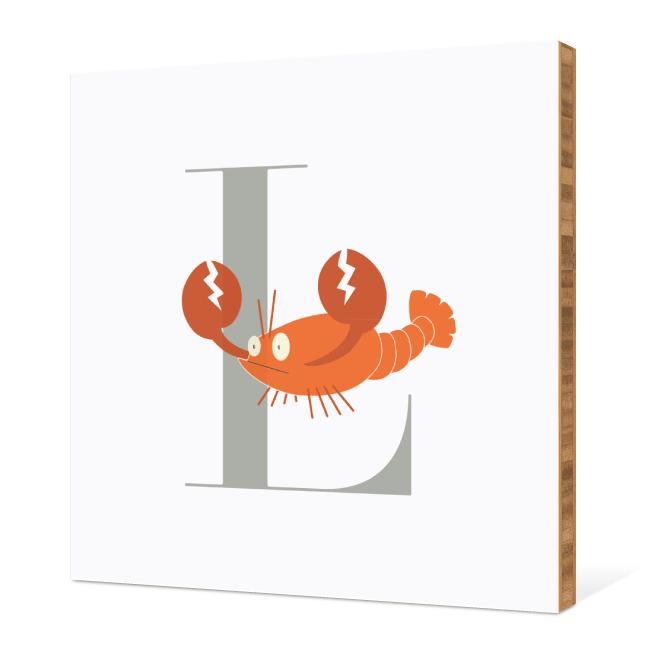 L Lobster Monogram Bamboo Art - Warm Gray