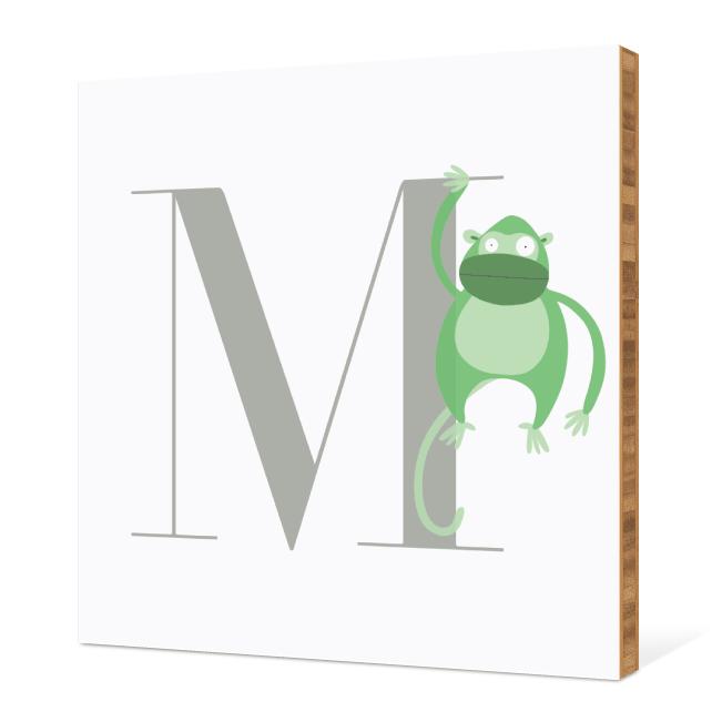 M Monkey Monogram Bamboo Art - Warm Gray