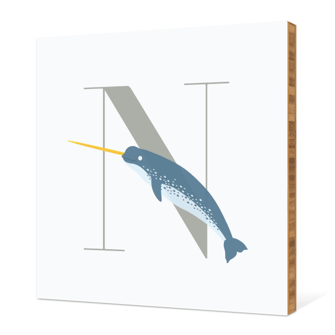 N Needlefish Monogram Bamboo Art - Warm Gray