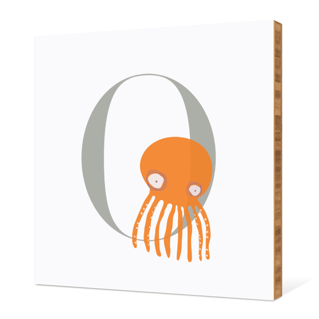 O Octopus Monogram Bamboo Art - Warm Gray