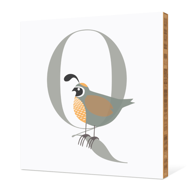 Q Quail Monogram Bamboo Art - Warm Gray