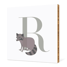 Alphabet Animals R Raccoon - Warm Gray