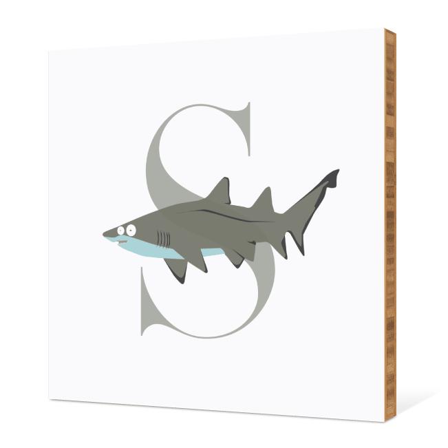 S Shark Monogram Bamboo Art - Warm Gray