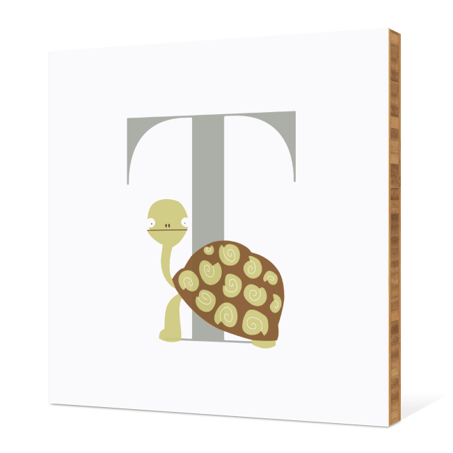 T Turtle Monogram Bamboo Art - Warm Gray