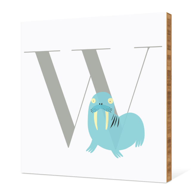 W Walrus Monogram Bamboo Art - Warm Gray