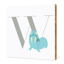 Alphabet Animals W Walrus - Warm Gray
