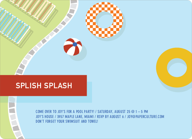 Pool Party Invitations: Splish splash! - Baby Blue