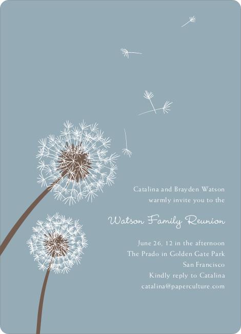 Dandelion Party Invitations - Mystic Blue