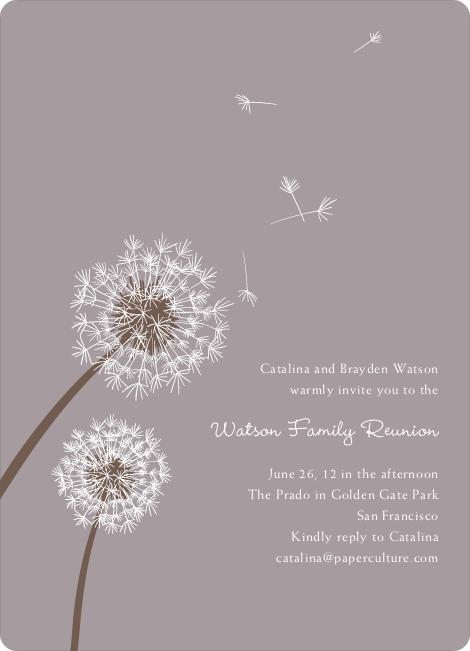 Dandelion Party Invitations - Mauve
