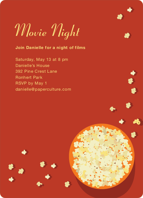 Movie Night Party Invitations - Cinnamon