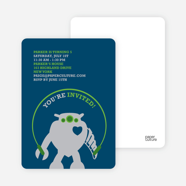 Robot Birthday Party Invitation - Deep Ocean Blue
