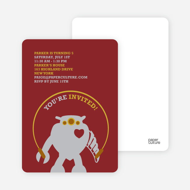 Robot Birthday Party Invitation - Brick Red