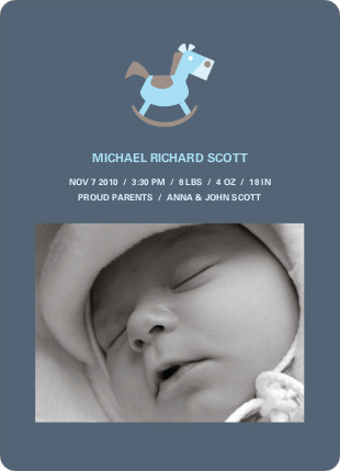 Rocking Horse Baby Announcement - Greyish Blue