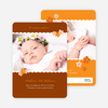 Photo Baby Announcements: Rustic Floral - Rustic Orange