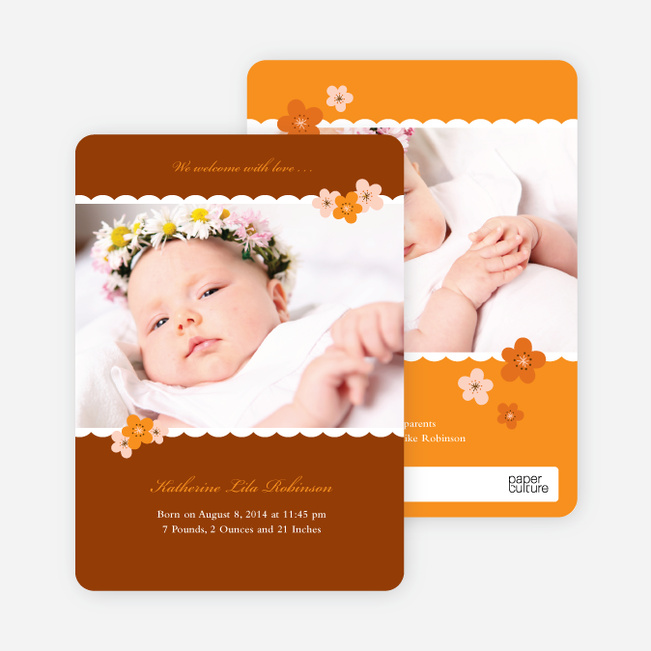 Rustic Floral Photo Baby Announcement - Rustic Orange