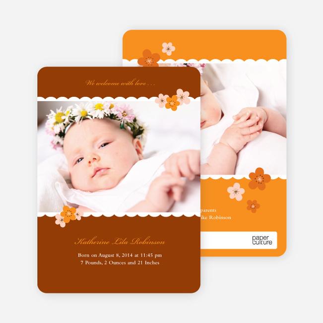 Rustic Floral Photo Baby Announcement - Rustic Orange