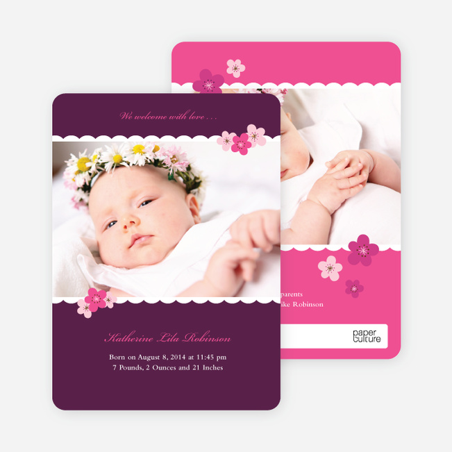 Rustic Floral Photo Baby Announcement - Grape