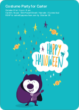 Magical Costume Party Halloween Invitations - Turquoise