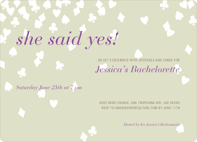 Queen of Hearts Bridal Shower Invitations - Mojito Cash