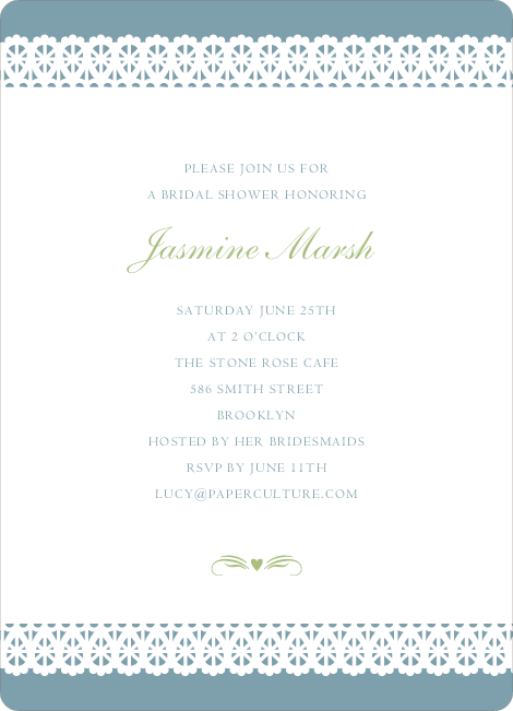 Lovely Lace Bridal Shower Invitations - Bridal Blue